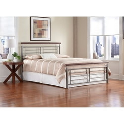 Category: Dropship Bath / Bedding, SKU #QAAZQ81229, Title: King size Contemporary Metal Bed in Silver / Cherry Finish