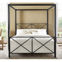 Category: Dropship Temporarily Paused Products, SKU #QBMCBSD5892581, Title: Queen size 4-Post Metal Canopy Bed Frame in Black