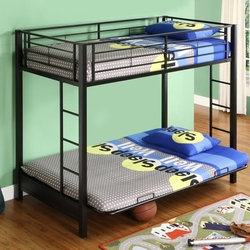 Category: Dropship Temporarily Paused Products, SKU #SBTFBF2971, Title: Black Metal Twin over Full-size Futon Bunk Bed Frame
