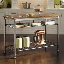 Category: Dropship Kitchen, SKU #WBWT340518, Title: Classic French Style Hardwood Butcher Block Top Metal Kitchen Utility Table