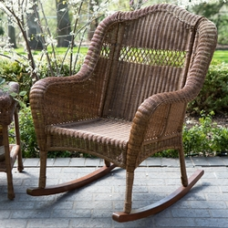 Category: Dropship Outdoors/sport, SKU #WICDB1488, Title: Indoor/Outdoor Patio Porch Walnut Resin Wicker Rocking Chair