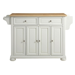 Category: Dropship Kitchen, SKU #WSOKIC1595871, Title: White Kitchen Island Storage Cabinet with Solid Wood Top