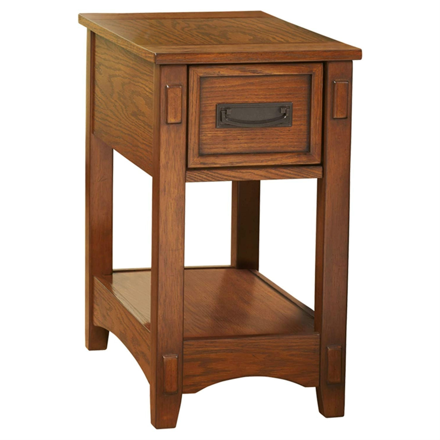 Mission Style 1 Drawer End Table Nightstand In Brown Wood