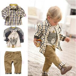 Category: Dropship Kids & Mom, SKU #SKU873588, Title: 3Pcs Printed Boys Clothes Sets For 1Y-7Y