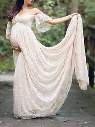 Category: Dropship Kids & Mom, SKU #SKUA05479, Title: Lace Off Shoulder Maternity Maxi Dress