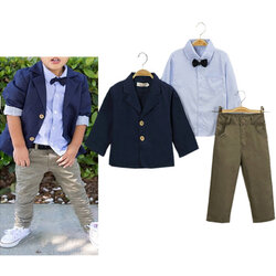 Category: Dropship Kids & Mom, SKU #SKUA07283, Title: 3Pcs Boys Formal Pant Sets 1Y-11Y