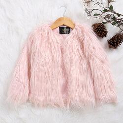 Category: Dropship Kids & Mom, SKU #SKUA14848, Title: Faux Fur Girls Winter Coat For 2Y-11Y