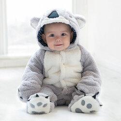 Category: Dropship Kids & Mom, SKU #SKUA23050, Title: Koala Thick Warm Baby Jumpsuit For 0-36M
