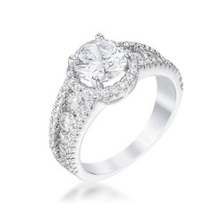 dropshipping 2.1ct Silvertone Solitaire Engagement Halo Ring