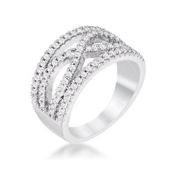 dropshipping .4ct Silvertone Classic Twist Wide Cz Ring