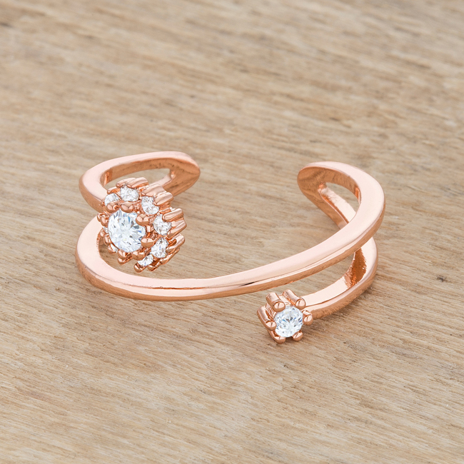 Dropshipping Krista 0 25ct Cz Rose Gold Abstract Wrap Ring