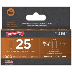 "ARROW FASTENER 259 T25 Round Crown Staples, 9/16""; 1,000 pk"
