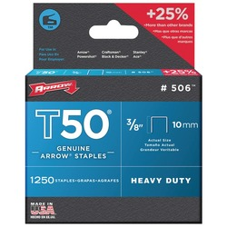 "ARROW FASTENER 50624 T50(R) 3/8"" Staples, 1,250 staples per pk"