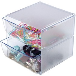 DEFLECTO 350101 Cube with 2 Drawers (Clear)
