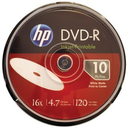 HP DM16WJH010CB 4.7GB 16x Printable DVD-Rs, 10-ct Cake Box Spind