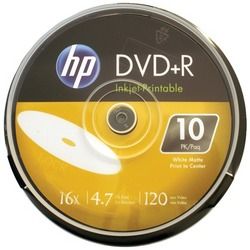 HP DR16WIJH010CB 4.7GB 16x Printable DVD+Rs, 10-ct Cake Box Spin