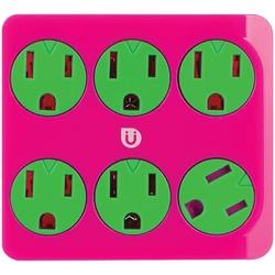 GE 25110 Uber(TM) 6-Outlet Power Tap (Pink & Green)