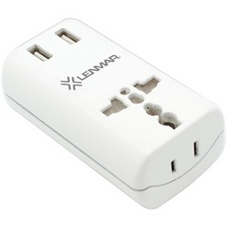 LENMAR AC150USBW Ultracompact All-in-One Travel Adapter with USB