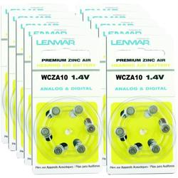 LENMAR HZA10-60 ZA10 Premium Zinc Air Hearing Aid Batteries, 60