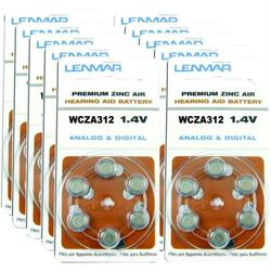 LENMAR HZA312-60 ZA312 Premium Zinc Air Hearing Aid Batteries, 6