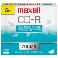MAXELL 623205/648205 700MB 80-Minute CD-Rs (5 pk; Slim Jewel Cas