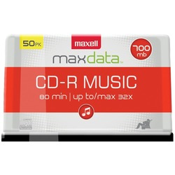 MAXELL 625156 - CDR80MU50PK 80-Minute Music CD-Rs (50-ct Spindle