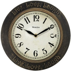 "WESTCLOX 32097 11"" Round Live, Love, Laugh Wall Clock"