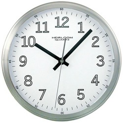 "TIMEKEEPER 2253 9"" Brushed Metal Round Wall Clock (White Face)"