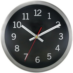 "TIMEKEEPER 2253B 9"" Brushed Metal Round Wall Clock (Black Face)"