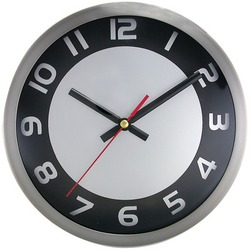 "TIMEKEEPER 2253SB 9"" Brushed Metal Round Wall Clock (Black/Silve"