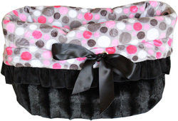 Category: Dropship New Arrivals, SKU #500-113, Title: Pink Party Dots Reversible Snuggle Bugs Pet Bed, Bag, and Car Seat All-in-One