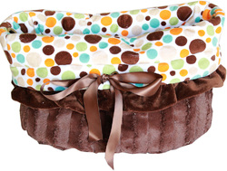 Category: Dropship New Arrivals, SKU #500-114, Title: Fall Party Dots Reversible Snuggle Bugs Pet Bed, Bag, and Car Seat All-in-One