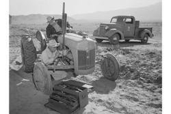 Category: Dropship Photographic, SKU #24204-3 C2436, Title:  Tractor repair: Driver Benji Iguchi, Mechanic Henry Hanawa, (Canvas Art)