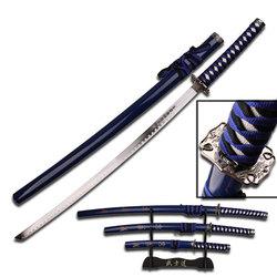 Category: Dropship New Arrivals, SKU #SW68LBL4, Title: 3pc Blue Samurai Sword Set SW68LBL4