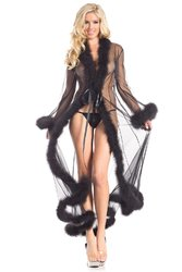 Category: Dropship Lingerie, SKU #BW1650BK, Title: BW1650BK Marabou Robe Black