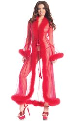 Category: Dropship Lingerie, SKU #BW1650RD, Title: BW1650RD Marabou Robe Red