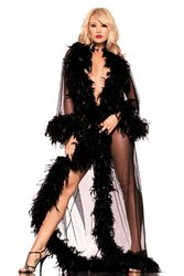 Category: Dropship Lingerie, SKU #BW834B, Title: BW834B Glamour Robe Black