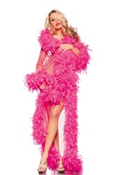Category: Dropship Lingerie, SKU #BW834HP, Title: BW834HP Glamour Robe Hot Pink