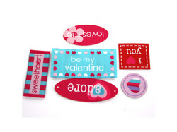 Category: Dropship Seasonal, SKU #AT264-200, Title: 6 piece valentine woven labels assorted styles ( Case of 200 )