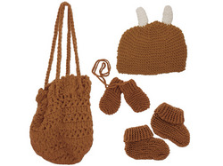 Category: Dropship Baby, SKU #BG233-24, Title: Hand Knit Bag with Booties Beanie and Mittens ( Case of 24 )