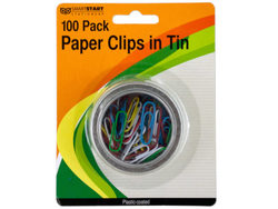 Category: Dropship School & Office Supplies, SKU #GR131-96, Title: Plastic Coated Paper Clips in Round Tin ( Case of 96 )