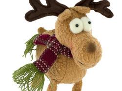 Category: Dropship Seasonal, SKU #HX438-24, Title: Singing & Walking Plush Holiday Moose ( Case of 24 )