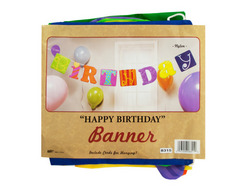 Category: Dropship Party Supplies, SKU #KB799-144, Title: Fabric Happy Birthday Banner ( Case of 144 )