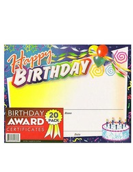 Category: Dropship Party Supplies, SKU #KK748-96, Title: Birthday Award Certificates ( Case of 96 )