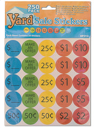 Category: Dropship School & Office Supplies, SKU #OP313-96, Title: Yard Sale Pricing Stickers ( Case of 96 )