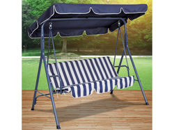 Category: Dropship Lawn & Garden, SKU #OS333-2, Title: Blue Striped Canopy Swing Chair ( Case of 2 )