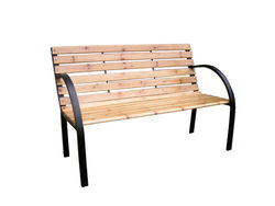 Category: Dropship Lawn & Garden, SKU #OT059-2, Title: Solid Wood & Steel Park Bench ( Case of 2 )