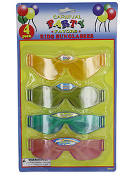 Category: Dropship Party Supplies, SKU #PB260-96, Title: 4 Pack kid's party favor sunglasses ( Case of 96 )