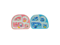 Category: Dropship Baby, SKU #UU041-96, Title: Melamine kid's plate with 4 sections assorted designs ( Case of 96 )