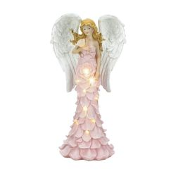 Category: Dropship Religious, SKU #10018518, Title: Solar Powered Pink Rose Angel Statue